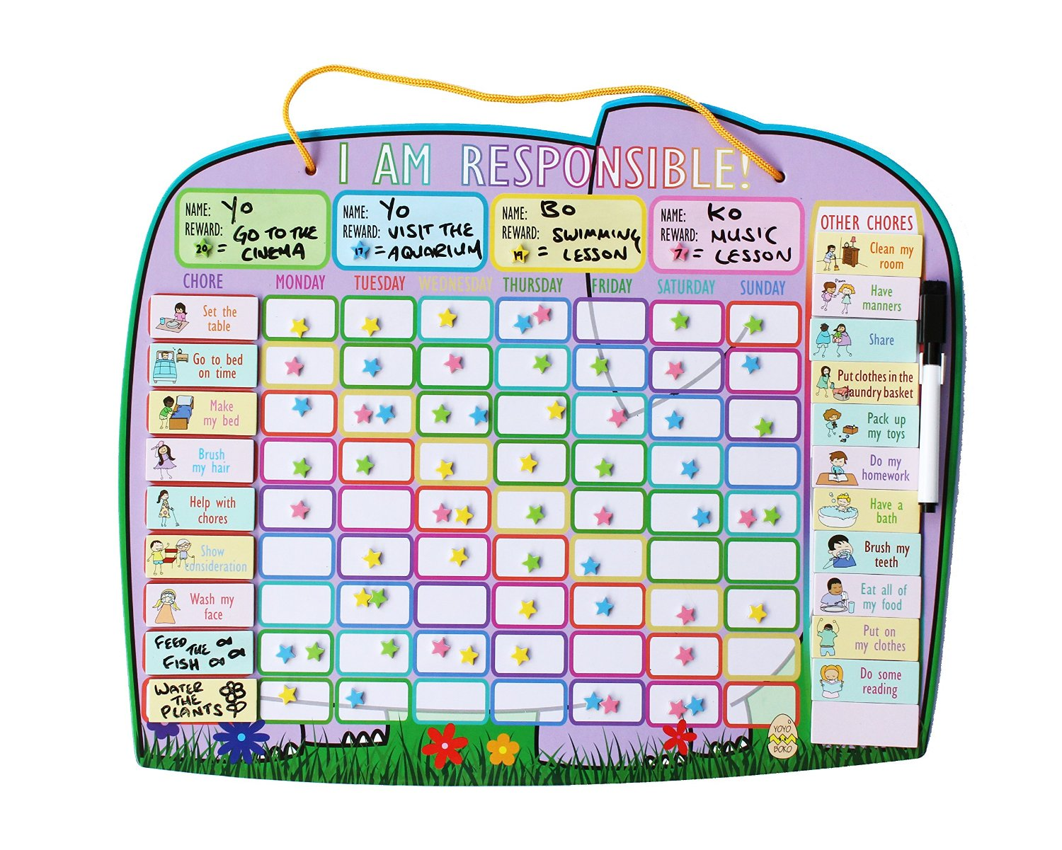 Ele fun star chart for 4 children yoyoboko good behaviour and responsibility chart for up to 4 kids nvjuhfo Image collections